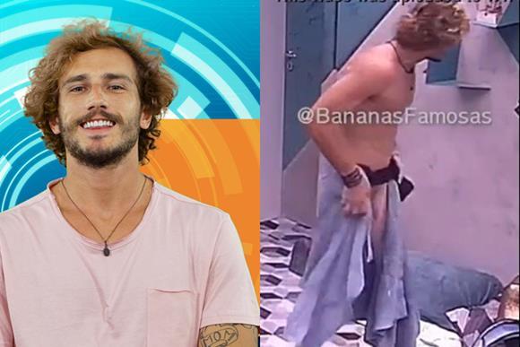 Alan do BBB19 mostrando o pênis ao deixar a toalha cair