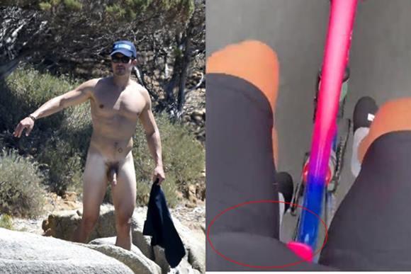 Orlando Bloom com o pênis marcando na bermuda
