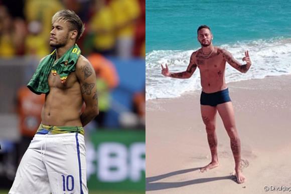 Vídeo de Neymar só de sunga
