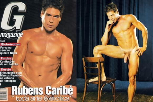 Ator Rubens Caribé pelado na revista G Magazine