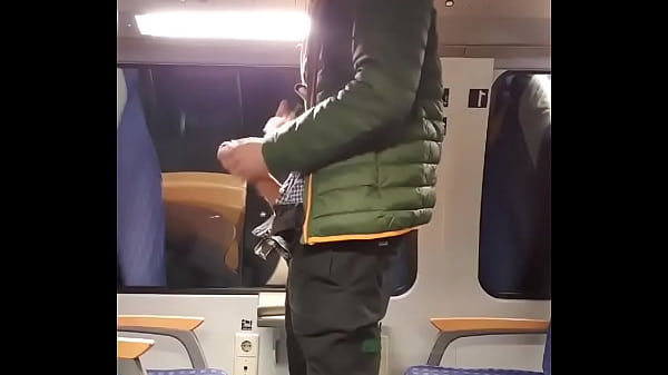 Novinho batendo punheta no metrô público